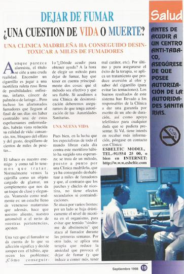 Segunda página del articulo sobre dejar de fumar