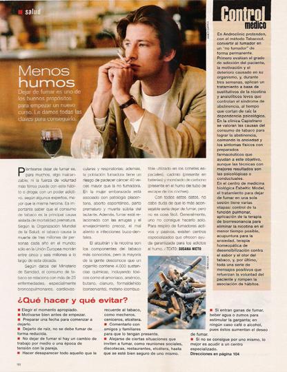 Pagina del articulo del tratamiento para dejar de fumar de Esbeltic Model