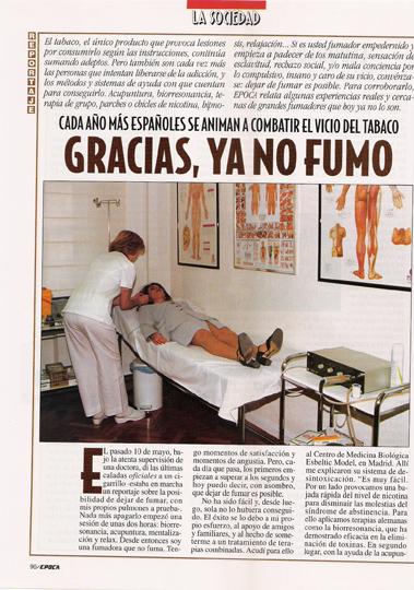 Articulo en Revista Epoca sobre dejar de fumar