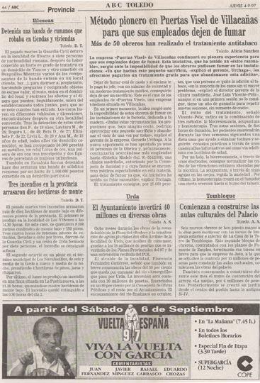 Articulo escrito en diario ABC sobre dejar de fumar en Esbeltic Model