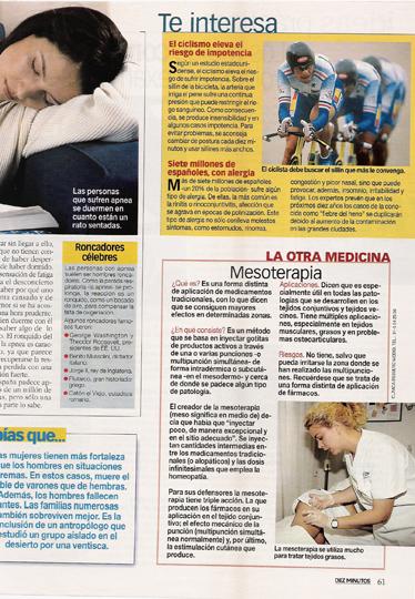 Artículo en Diez Minutos sobre Mesoterapia Madrid Precio
